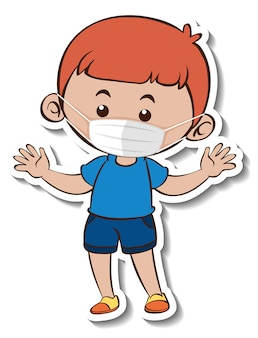 의료 마스크 만화 캐릭터를 착용하는 소년과 스티커 템플릿