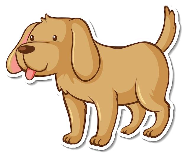 茶色の犬の漫画のキャラクターとステッカーテンプレート