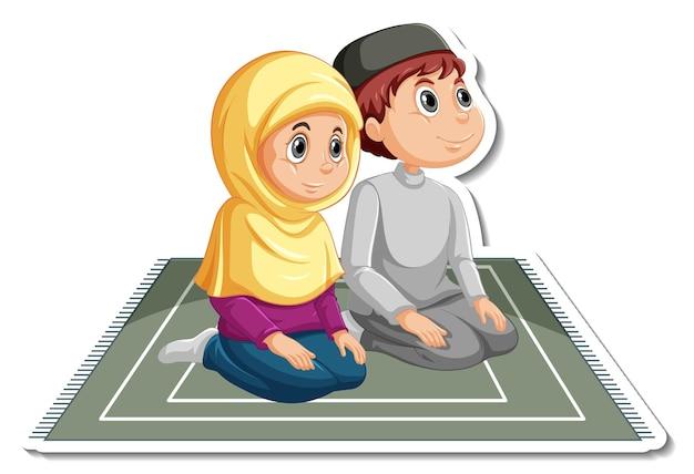 두 명의 이슬람 어린이 만화 캐릭터가 있는 스티커 템플릿