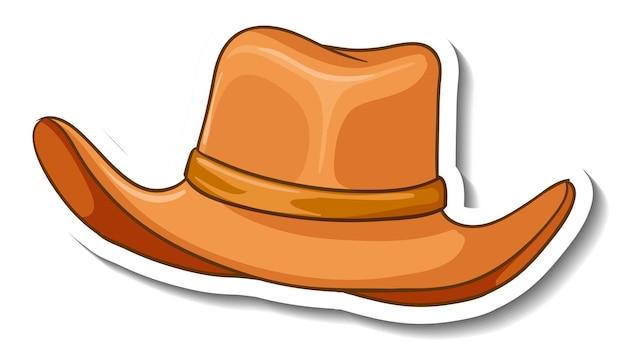 Шаблон стикера с изолированной ковбойской шляпой