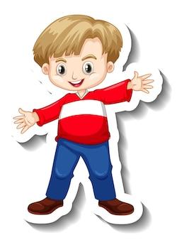 かわいい男の子の漫画のキャラクターとステッカーテンプレート
