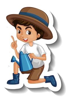 Шаблон стикера с симпатичным мальчиком, держащим лейку