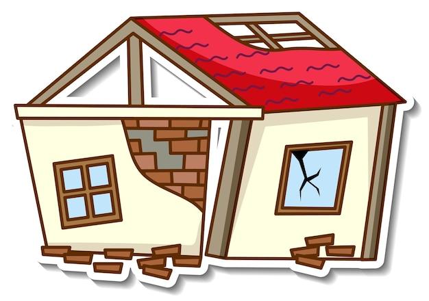 Шаблон стикера с изолированным разрушенным домом