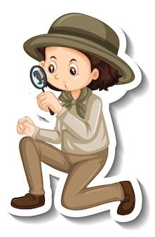 Шаблон стикера с девушкой в костюме сафари, персонаж мультфильма