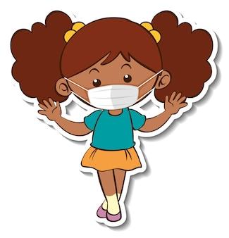 의료 마스크 만화 캐릭터를 입고 소녀와 스티커 템플릿