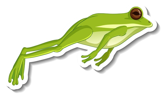 Шаблон стикера с зеленой лягушкой, прыгающей изолированной