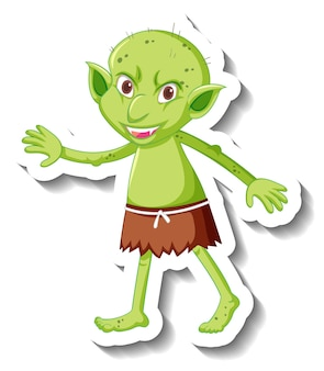 녹색 고블린 또는 트롤 만화 캐릭터가 있는 스티커 템플릿