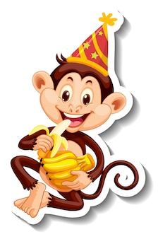 파티 모자를 쓴 원숭이가 있는 스티커 템플릿
