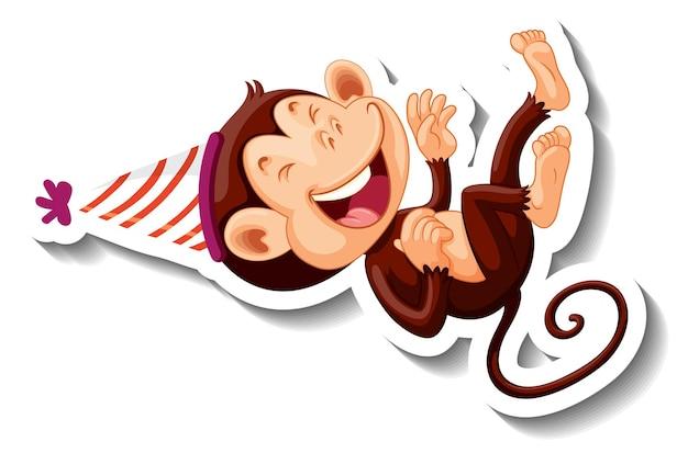 パーティーハットをかぶった猿のステッカーテンプレート