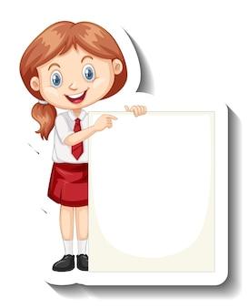 빈 보드를 들고 학생 소녀와 스티커 템플릿