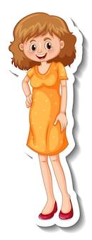 노란색 드레스를 입고 서 있는 여성이 있는 스티커 템플릿
