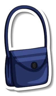 分離された女性のショルダーバッグとステッカーテンプレート