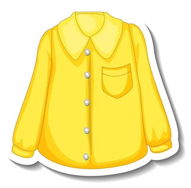 分離された女性のための黄色いシャツのステッカーテンプレート