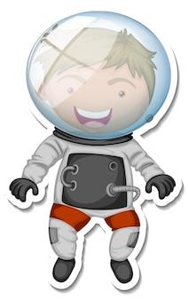 宇宙飛行士の漫画のキャラクターが分離されたステッカーテンプレート