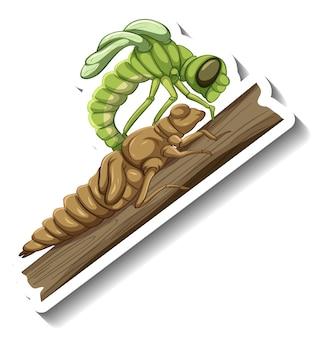 탈피 단계의 곤충이 있는 스티커 템플릿
