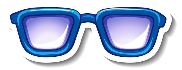 青いメガネのステッカーテンプレート