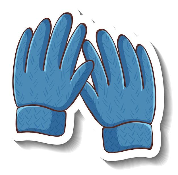 分離された青い手袋とステッカーテンプレート