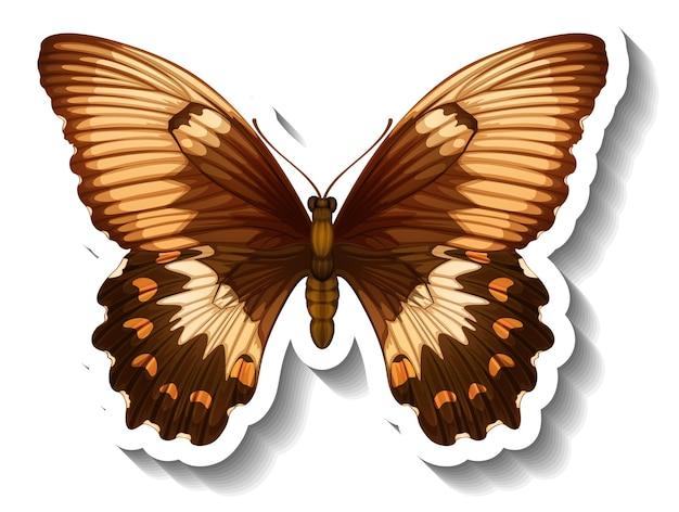 蝶や蛾が分離されたステッカーテンプレート