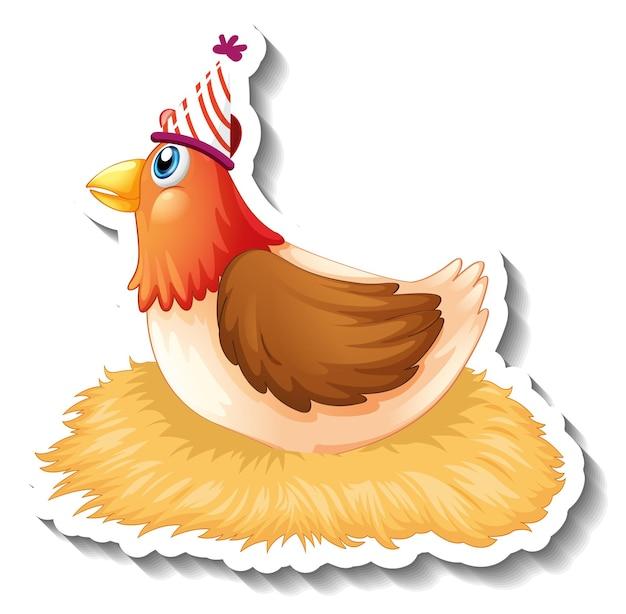 Шаблон стикера с персонажем мультфильма курица в шляпе для вечеринки