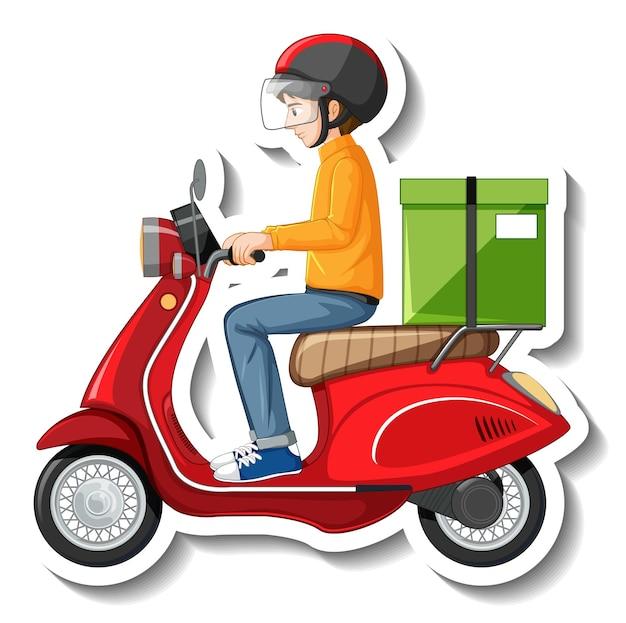 오토바이에 배달원이 있는 스티커 템플릿