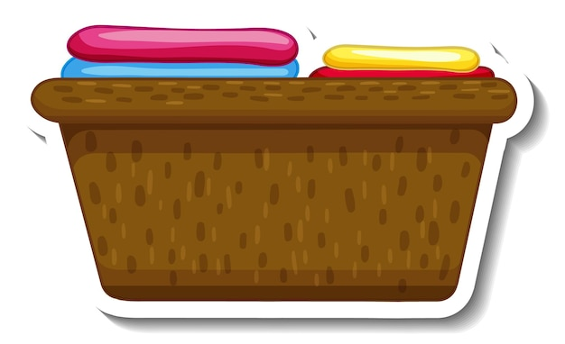 Шаблон стикера со сложенной одеждой в корзине