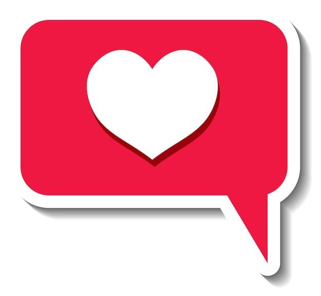 Шаблон стикера с изолированным значком социальных сетей в форме сердца