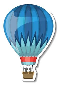 Шаблон стикера с изолированным воздушным шаром