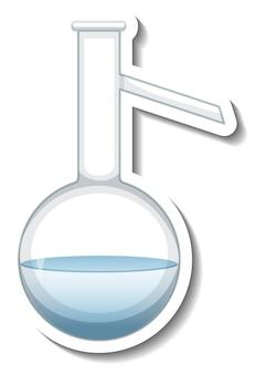 実験用ガラス器具が分離されたステッカーテンプレート