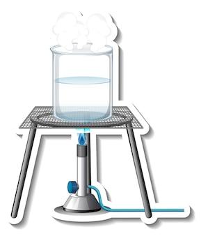 실험실 유리가 분리된 스티커 템플릿