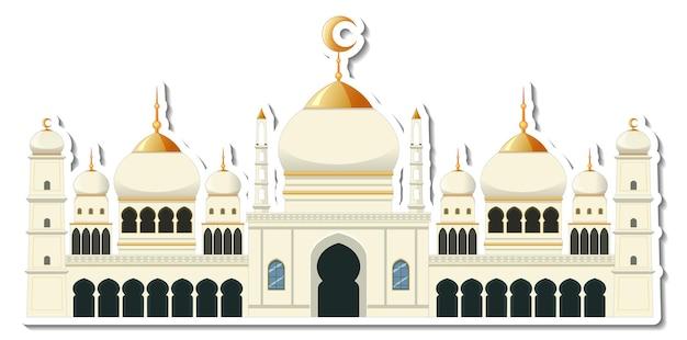 Шаблон стикера с изолированным зданием мечети