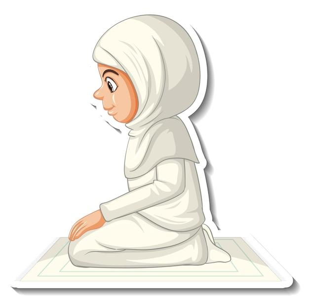 Шаблон стикера с мусульманской девушкой, молящейся мультипликационным персонажем