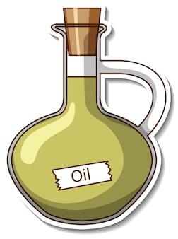 分離されたガラス瓶の油とステッカーテンプレート