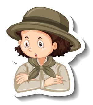 サファリ衣装の漫画のキャラクターの女の子の肖像画のステッカーテンプレート