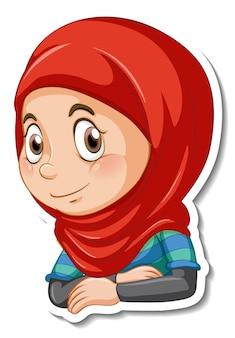 이슬람 소녀 만화 캐릭터의 초상화가 있는 스티커 템플릿
