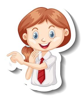 制服を着た学生の女の子の肖像画のステッカーテンプレート 無料ベクター