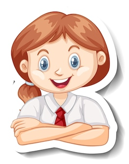 교복을 입은 여학생의 초상화가 있는 스티커 템플릿