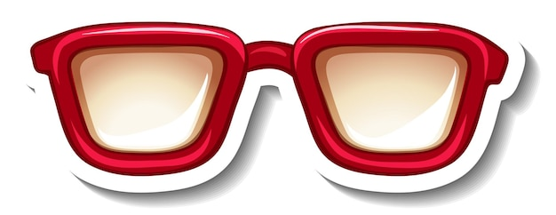 赤いメガネのステッカーテンプレート