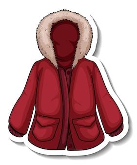 고립 된 빨간 겨울 코트와 스티커 템플릿