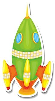 Шаблон стикера с изолированным мультфильмом rocket space