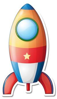 고립 된 로켓 공간 만화와 스티커 템플릿