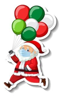 サンタクロースがマスクを身に着けているステッカーテンプレート