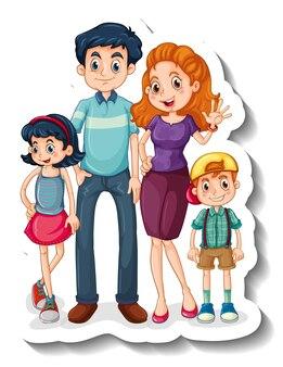 작은 가족 구성원이 있는 스티커 템플릿 만화 캐릭터