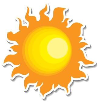 고립 된 만화 스타일의 태양이 있는 스티커 템플릿