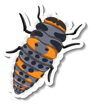 分離された毛虫の上面図のステッカーテンプレート
