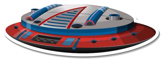 Шаблон стикера с изолированным нло или истребителем