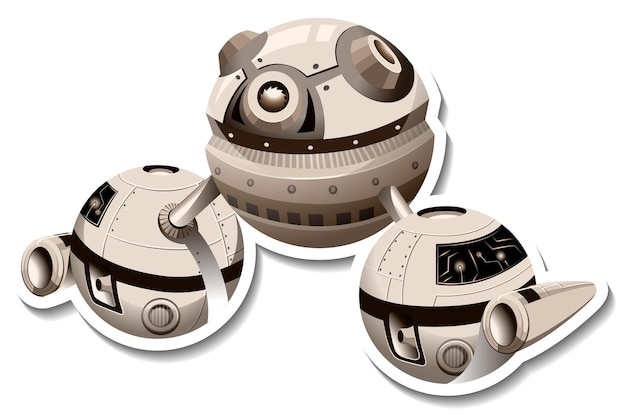 Ufo 또는 우주 정거장이 격리된 스티커 템플릿