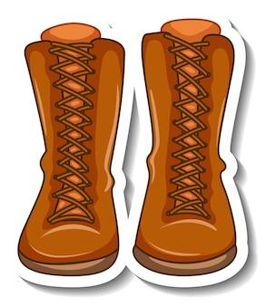 女性のブーツが分離されたステッカーテンプレート