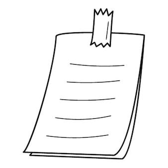 Наклейка с пометками на ленте. бумажная записка со списком дел. рисованный черно-белый вектор