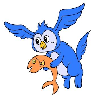 Странное существо в теле кота с головой совы с крыльями, которое летает с рыбой, каракули рисуют каваи. искусство иллюстрации