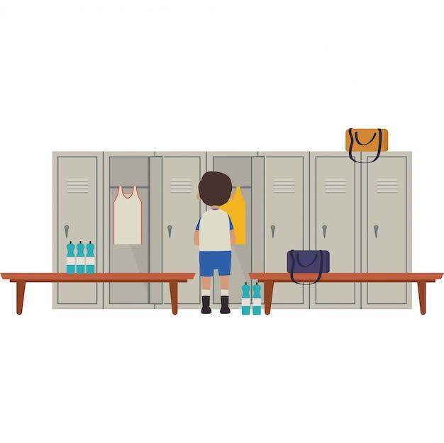 학생 탈의실에서 옷을 갈아 입고있는 학생